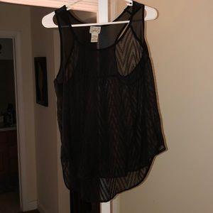 See through black dressy tank top
